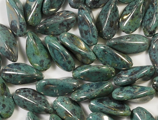 24mm Turquoise Mottled/Gold Luster Pinched Oval Beads [5]