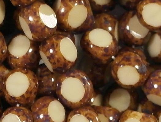 8mm Beige/Brown Picasso 3-Cut Round Beads [25]