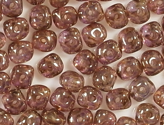 3x5mm Light Pink/Gold Luster Nugget Rondelle Beads [100] (see Comments)