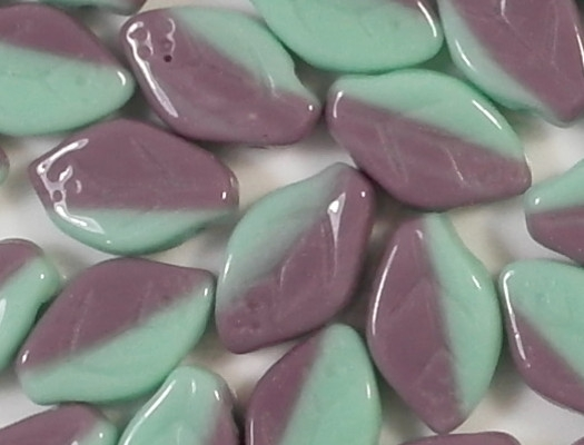 12mm Turquoise/Amethyst Leaf Beads [25]