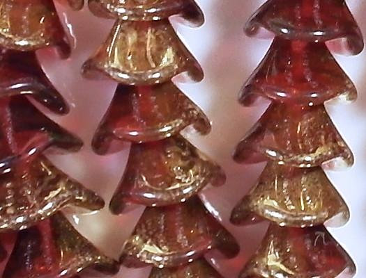 10x12mm Fuchsia Gold 3-Petal Flower Beads [15]