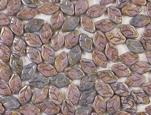12mm Mottled Lavender/Topaz Leaf Beads [25]