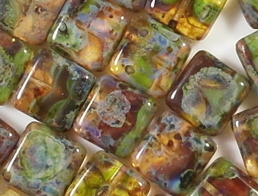 10mm Mixed Color Picasso Square Beads [15] (see Comments)