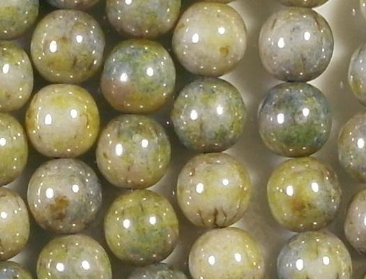 8mm Mottled Green Luster Round Beads [25]