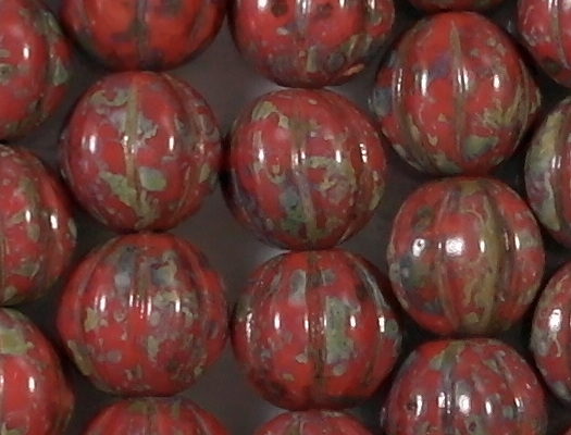 8mm Opaque Red Picasso Fluted Beads [25]