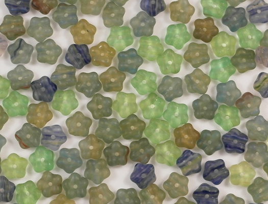 7mm Mixed-Color Matte Flower Spacer Beads [50]