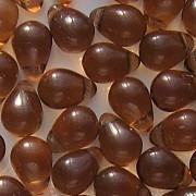 8mm Dark Topaz (Brown) Teardrop Beads [50]