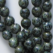 6mm Black Picasso Round Beads [50] (see Comments)