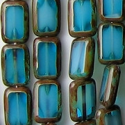 12mm Capri Blue/White Picasso Polished Rectangle Beads [20] (see Defects)