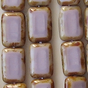 12mm Opaque Light Amethyst Polished Rectangle Beads [20] (see Comments)