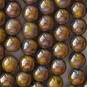 6mm Yellow Picasso/Bronze Luster Round Beads [50]