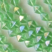 6mm Light Green Iris Bicone Beads [50]