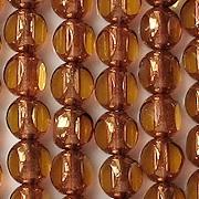 8mm Topaz/Bronze 3-Cut Round Beads [25]