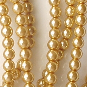 4mm Gold-Colored Round Glass Pearls [118+]