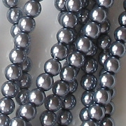 4mm 'Storm' Blue Round Glass Pearls [118+] (see Comments)