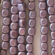 3.5mm Opaque Lavender Luster Cube Beads [100]