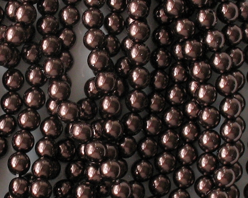 6mm Brown Round Glass Pearls [75] (see Comments)