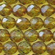 8mm Olive Picasso Faceted Round Beads [50]