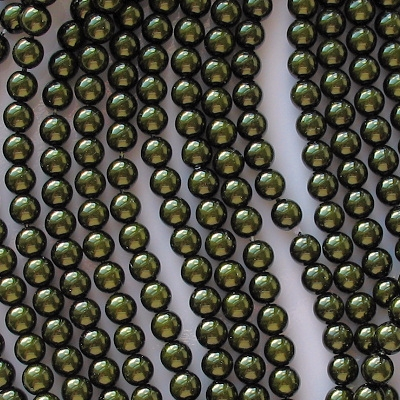 6mm Dark Olive Green Round Glass Pearls [75] (see Comments)