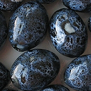 "27mm ""Denim"" Blue Oval Pottery Beads [5]"