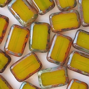 12mm Yellow Swirl Picasso Polished Rectangle Beads [20] (see Comments)