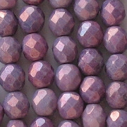 8mm Purple Mottled Faceted Round Beads [50]