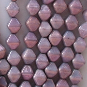 6mm Opaque Purple/Copper Luster Bicone Beads [50] (see Comments)