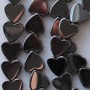 8mm Hematite Flat Heart Beads [50]