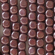 3.5mm Opaque Brown Luster Cube Beads [100]